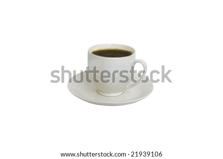 studio shot of a white coffee cup with coffee