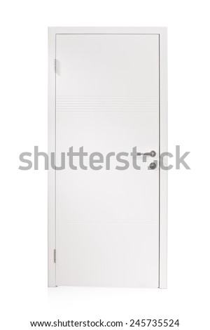 Studio shot of a white metal door isolated on white background - stock photo