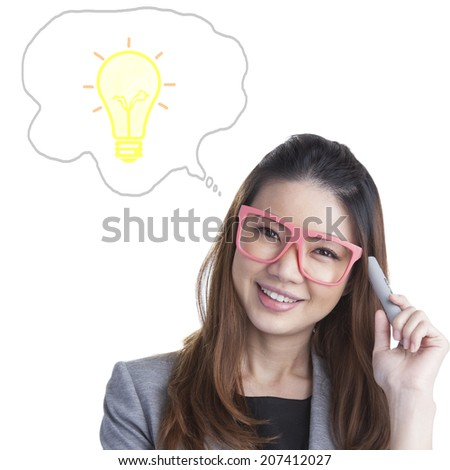 Studio shot of a young businesswoman thinking isolated on white
