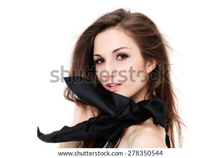 Studio shot of a young fashion woman - stock photo