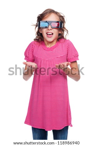 studio shot of amazed little girl in stereo glasses. isolated on white background - stock photo