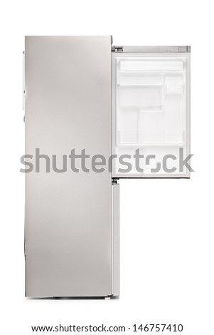 Studio shot of an empty fridge isolated on white background - stock photo