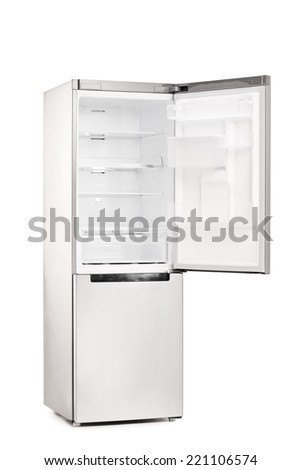 Studio shot of an empty refrigerator with opened door isolated on white background - stock photo