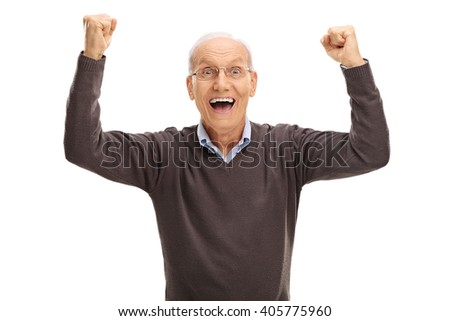Studio shot of an excited pensioner gesturing happiness and looking at the camera isolated on white background - stock photo