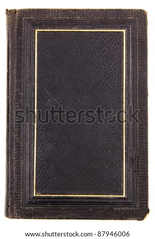 Studio shot of antique black book on white background - stock photo