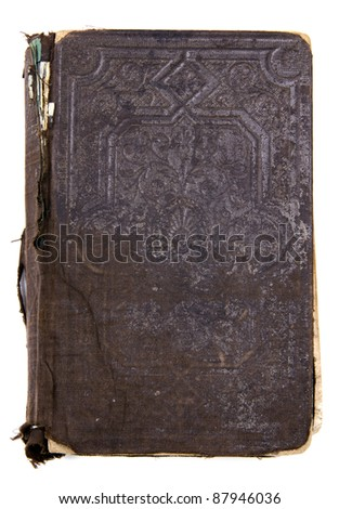 Studio shot of antique brown book on white background - stock photo