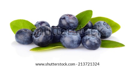 Studio shot of assortment fresh blueberries with leaves isolated on a white background  - stock photo