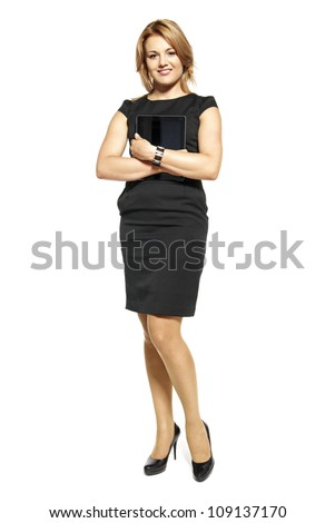 Studio shot of attractive  woman in a black dress. Portrait of businesswoman isolated on white background. - stock photo