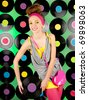 studio shot of cheerful teenage girl over the colorful background - stock photo