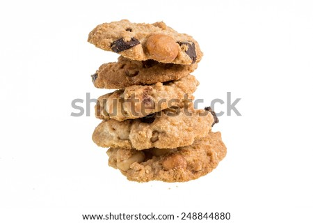 Studio Shot of Chocolate homemade pastry cookies isolated on white background