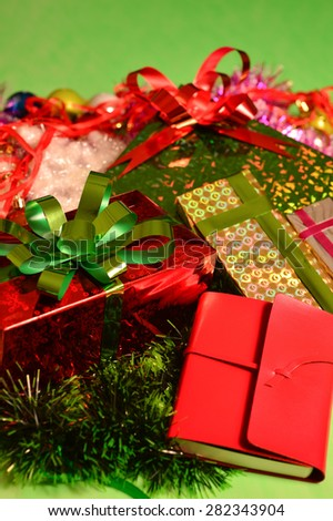 studio shot of christmas background of gift boxes