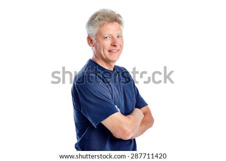 Studio shot of confident mature man looking at camera on white background