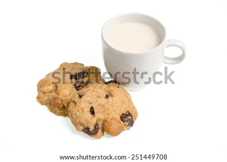 Studio Shot of Cup of milk milk and cookies isolated on white background - stock photo