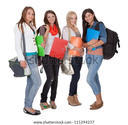 Studio shot of four female students isolated on white