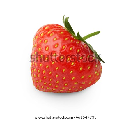 Studio shot of fresh ripe strawberry with peduncle closeup isolated on white background. Natural organic berry fruit, healthy food, diet concept
