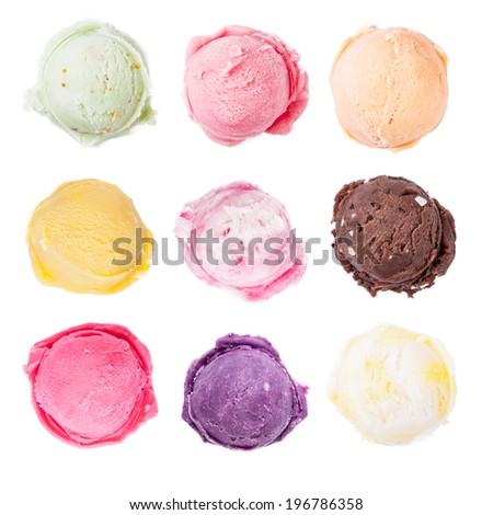 Studio shot of isolated ice cream scoops on white background - stock photo