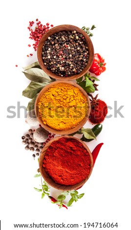 Studio shot of isolated spices on white background - stock photo