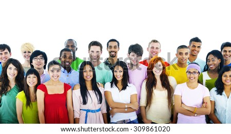 Studio Shot of Large Group of Young Adult Concept - stock photo