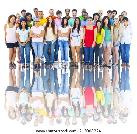Studio Shot of Large Group of Young Adults - stock photo