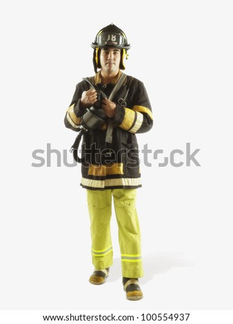 Studio shot of male fire fighter