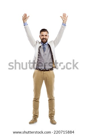 Studio shot of modern hipster businessman with hands up, isolated on white background - stock photo