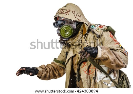 studio shot of nuclear survivor - stock photo