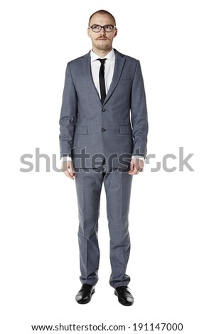 Studio shot of office worker. Looking right. Isolated on white. - stock photo
