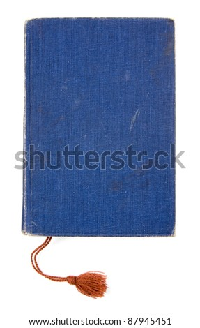 Studio shot of old blue book on white background - stock photo
