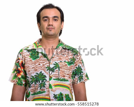 Studio shot of Persian man isolated against white background