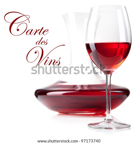 studio shot of red wine glass and decanter in vertical composition. white background - stock photo