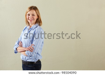 Studio Shot Of Relaxed Middle Aged Woman - stock photo