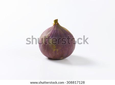 Studio shot of single whole fresh fig fruit - stock photo