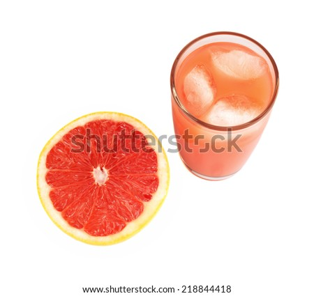 Studio shot of sliced grapefruit with grapefruit juice with ice cubes isolated white background - stock photo