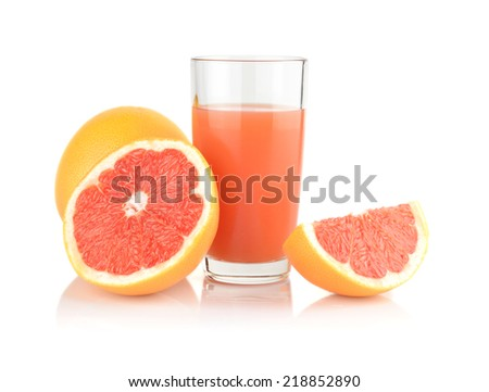 Studio shot of sliced three grapefruits with grapefruit juice isolated white background - stock photo