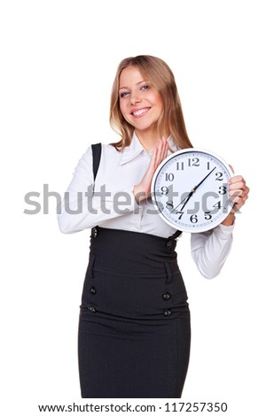 studio shot of smiley businesswoman with clock. isolated on white background - stock photo