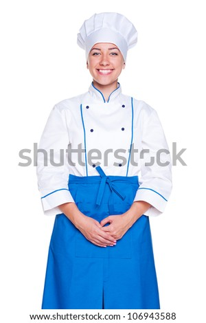studio shot of smiley cook in uniform. isolated on white background - stock photo