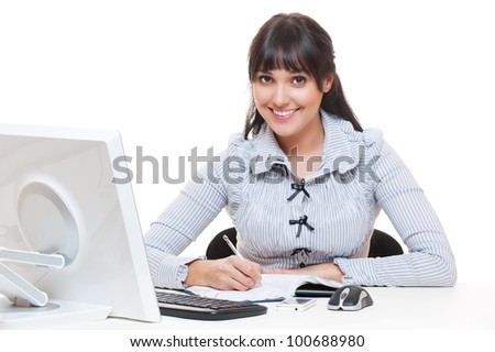 studio shot of smiley secretary writing something. isolated on white