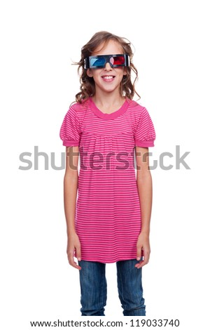 studio shot of ten year girl in stereo glasses. isolated on white background - stock photo