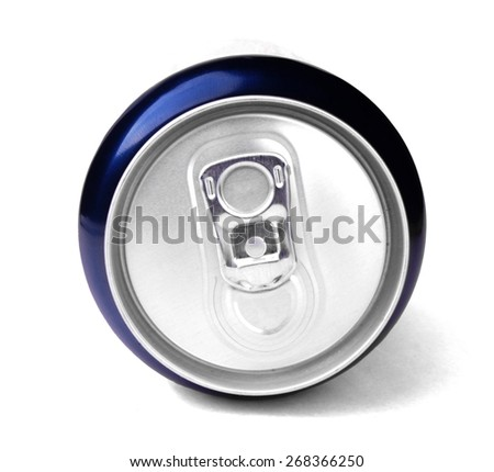 Studio shot of the top of a blue can - stock photo