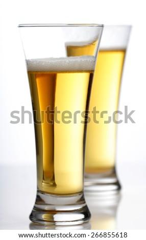 Studio shot of two beers - stock photo