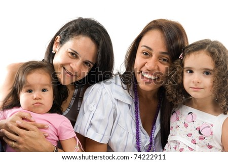 studio shot of two women with the children