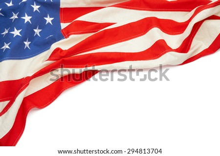 Studio shot of US flag with place for text - stock photo