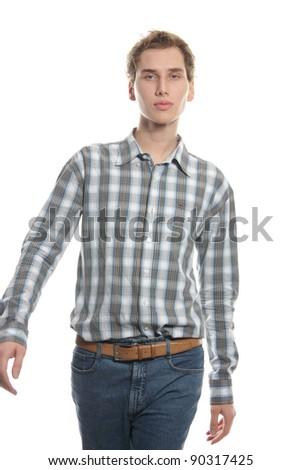 studio shot of walking young man over white - stock photo