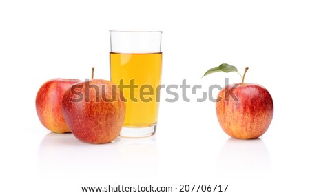 Studio shot of whole red apple with leaf and apple juice isolated on a white background