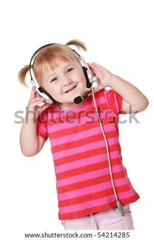studio shot of young girl with headphones - stock photo