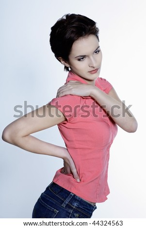 studio shot portrait on grey background of a  Beautiful French Women - stock photo
