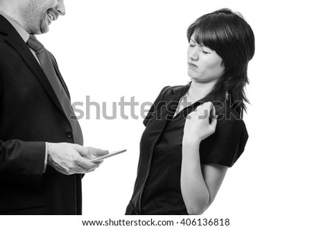 Studio shot showing co worker holding a mobile device with bad breath, isolated on white