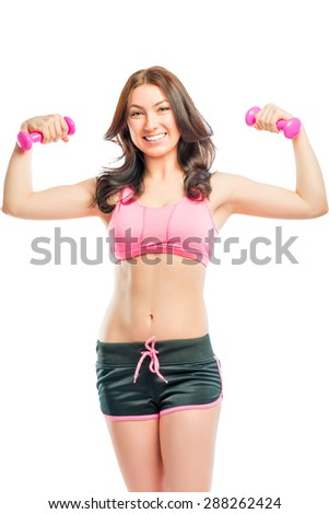 studio shot trainer with a beautiful smile - stock photo