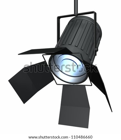 Studio spotlight isolated on a white background. Computer generated 3d object. - stock photo