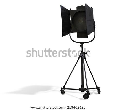 Studio spotlight lighting equipment isolated on white background - stock photo